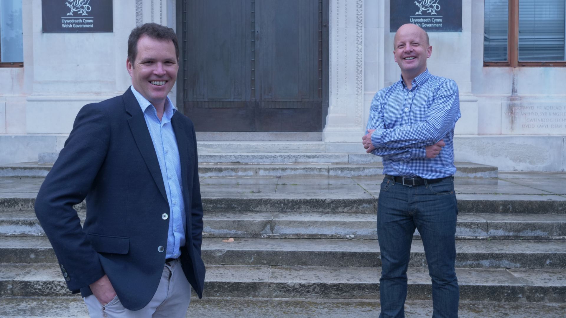 Lee Walters, Deputy Minister for Economy and Transport and Dr Dafydd Trystan Davies new Chair of the Active Travel Board