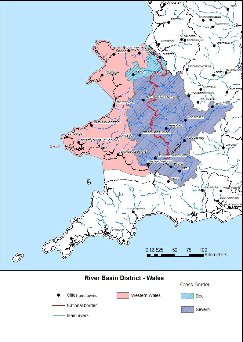 Annex 1: Map of river basin districts in Wales