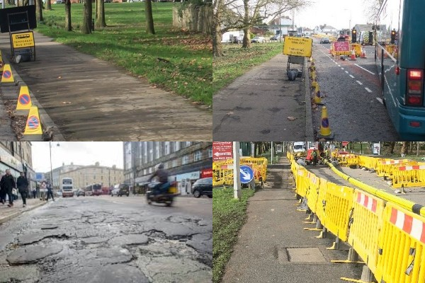 1. Photo of road signs on the public footway 2. Photo of temporary bus stop using signs and bollards on or in the road footwell 3. Photo of poor road surface 4. Photo of excavation works taking place next to the road narrowing the pavement