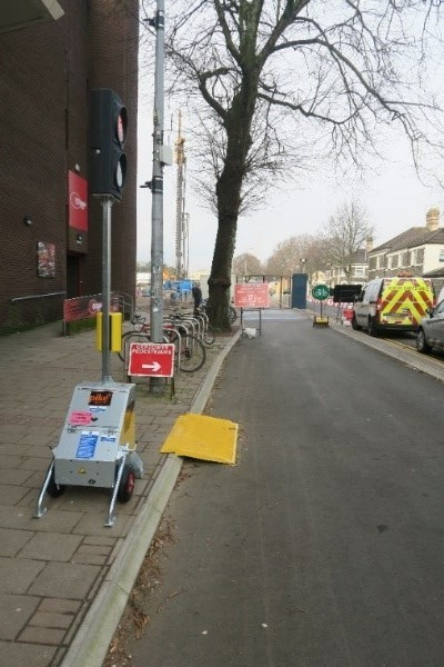 Photo of temporary ramp from the pavement into the road