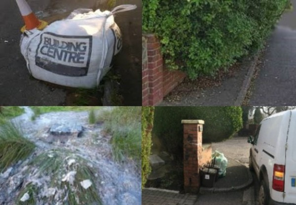 1. Photo of bag of sand on the roadside 2. Photo is of overhanging unkept bushes on the pavement 3. photo of discharge of water onto the public highway 4. Photo of residential pavement. There is rubbish on the pavement and a van parked up limiting the space for a mobility scooter, wheelchair or buggy to get past