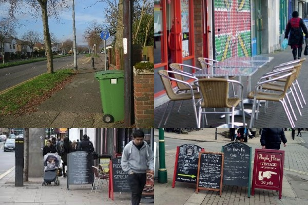 1. Photo of rubbish bin obstructing pavement 2. Photo of tables and chairs outside a cafe on public highway 3. Photo of sign cluttered footways 4. Photo of sign obstructing public footways