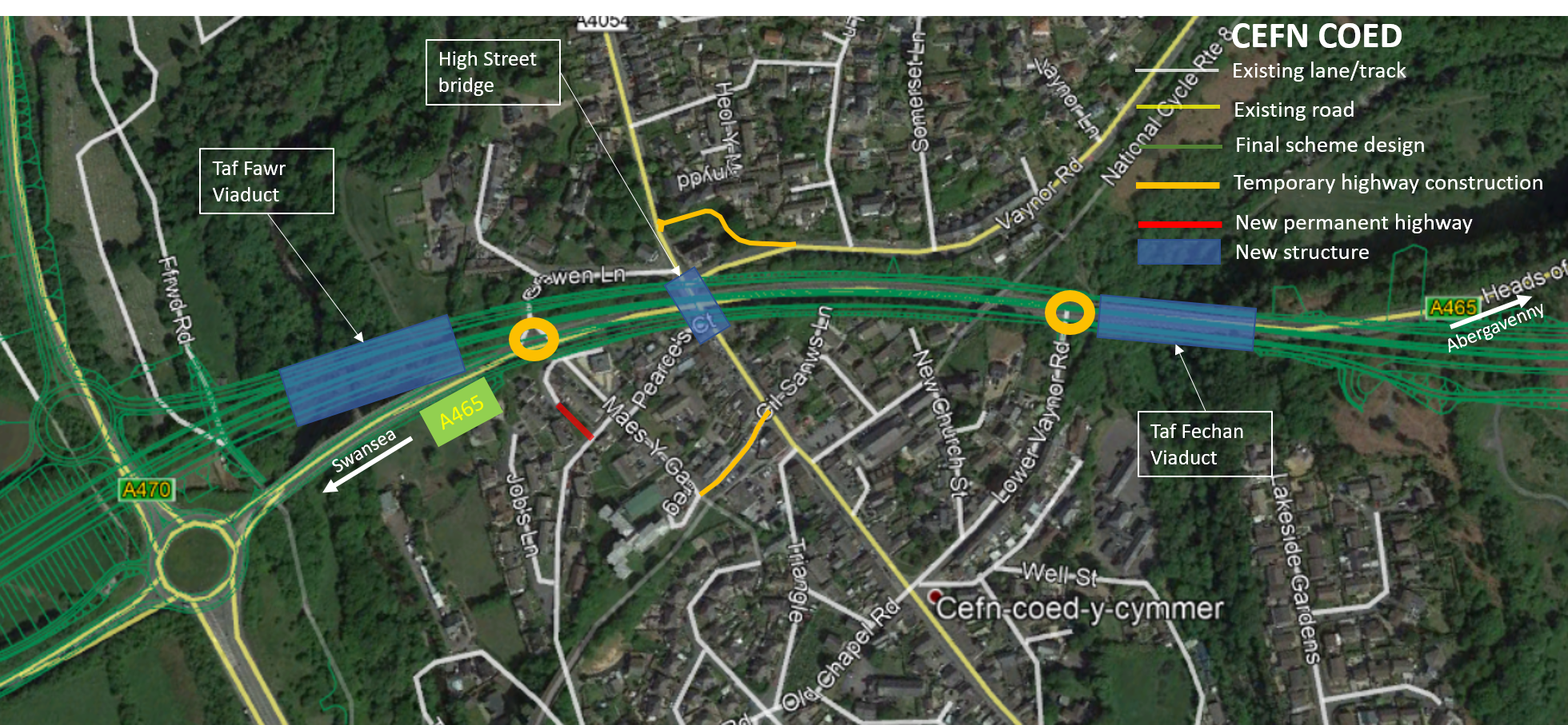 Satellite map showing changes to Cefn coed junction