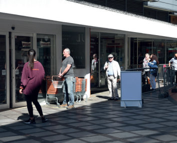 Figure 20: Stewards to direct queuing at shops– London