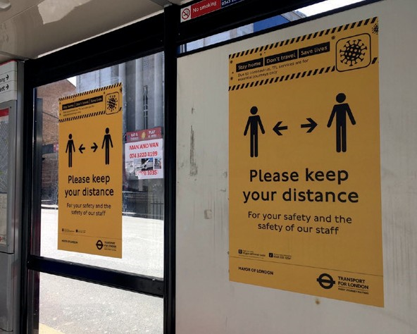 Figure 26: Signs for queues at transport hubs – London