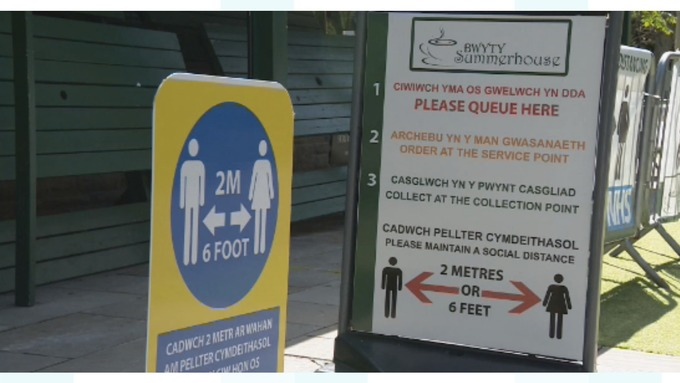 Figure 4:Signage promoting social distancing – Wales (Copyright – Credit: ITV Cymru Wales)