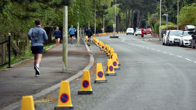 Figure 6: Traffic cones in place around Roath Park to stop visitors parking – Cardiff (Copyright – Credit: ITV Cymru Wales)