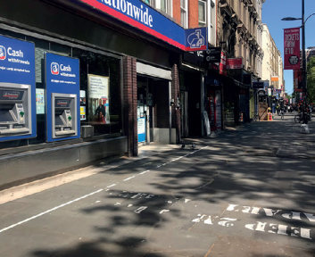 Figure 9: Markings for social distancing, separating queues and the general public on the footway – London
