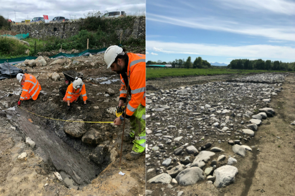 Bronze Age canoe and Roman road found by archaeologists during work on the A487 bypass.