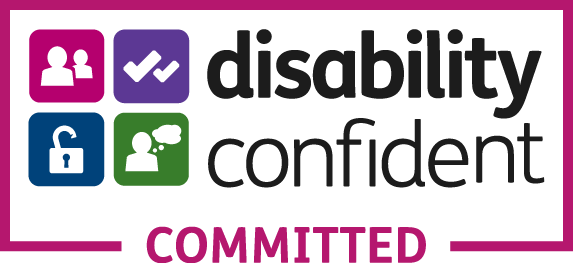 Disability Confident logo comprising of 4 rounded coloured square boxes with icons symbolising people, ticks, unlocked and communication with the legend 'Comitted'