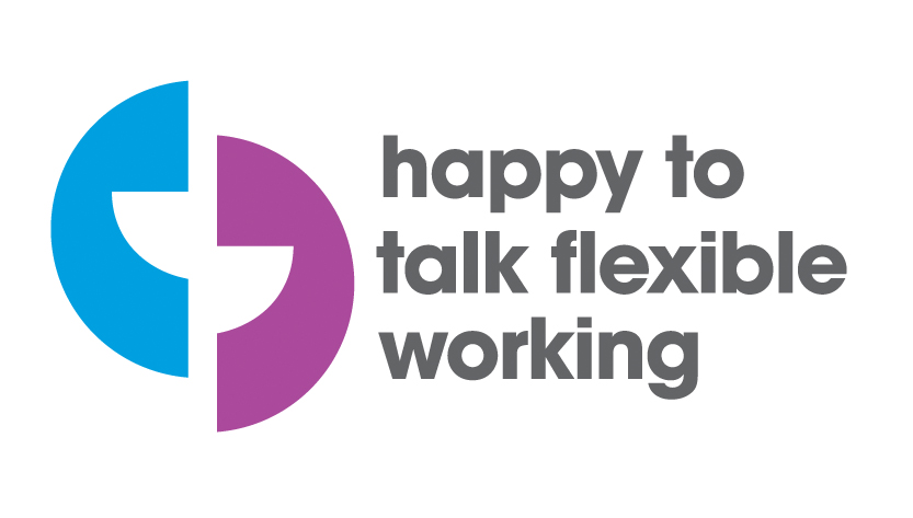 Flexible working logo of the Working Families organisation, comprising 2 stylised quotation marks and the legend 'happy to talk flexible working'