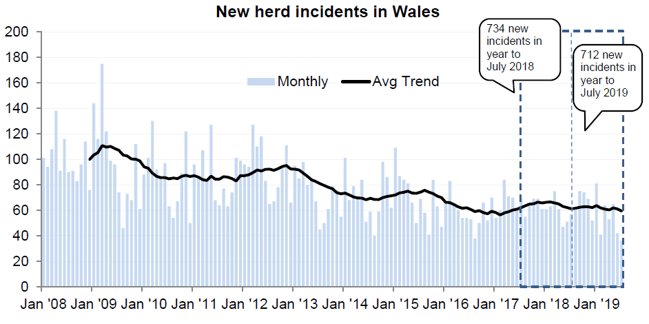 Chart showing the trend in new herd incidents in Wales since 2008. There were 712 new incidents in the 12 months to July 2019, a decrease of 3% compared with the previous 12 months.