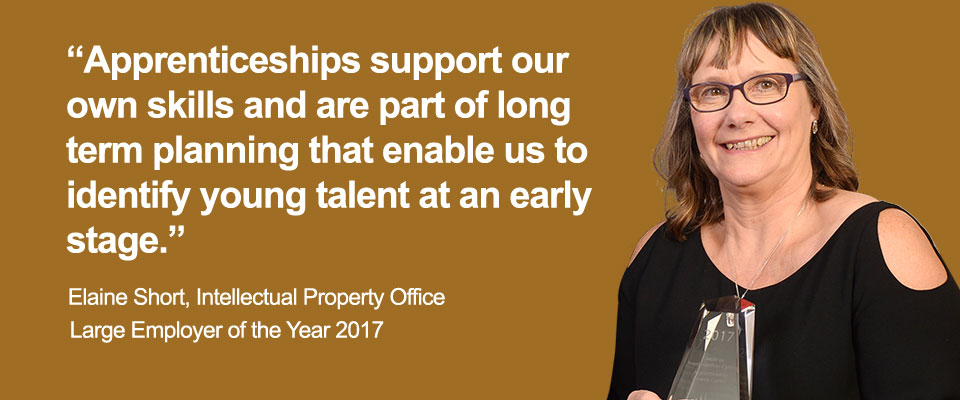 """Apprenticeships support our own skills and are part of long term planning that enable us to identify young talent at an early stage."" - Elaine Short, Intellectual Property Office. Large Employer of the Year 2017"