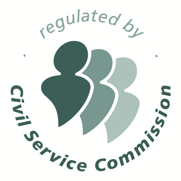 Regulated by the Civil Service Commission logo comprising of 3 stylised people in shades of green