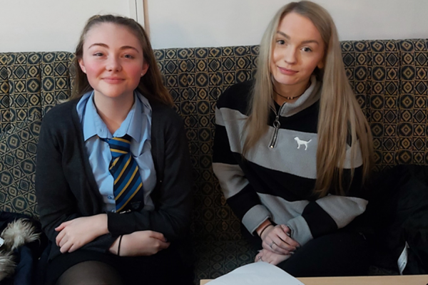 Rebecca Lewis, 15, and Amber Treharne, 16 who are leading Carmarthenshire County Council's period dignity project.