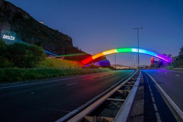 A55 Rainbow Bridge lights up in tribute to key workers