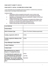 Road Safety Capital Scheme Application Form